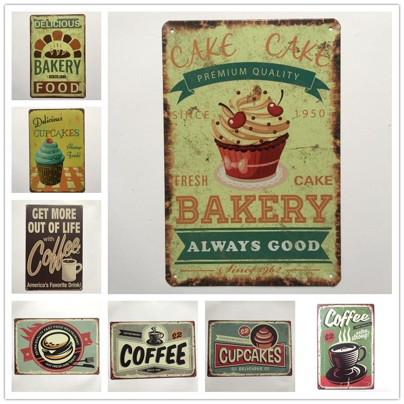 """Crème glacée est bonne grand panneau en métal étain /""""Vintage AD Shabby Chic Cuisine"""