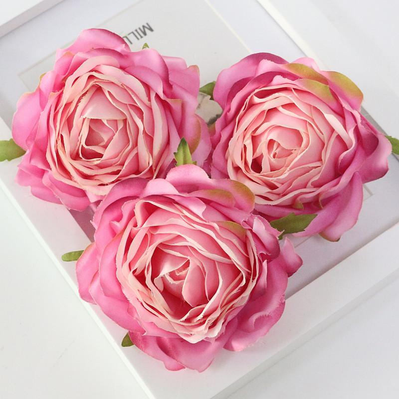 Flone High Quality Artificial Flower Head Retro Rose Head Silk Flower Wedding Christmas Party Decor Flores (7)