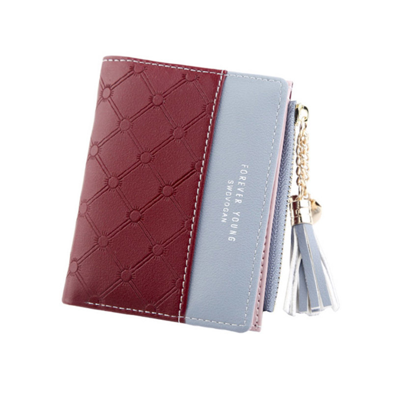 Women Wallet Female Short Paragraph Coin Purse Color Wallet Women Small Fold Wallets Tassel Zipper Button Bag Credit Card Holder (6)