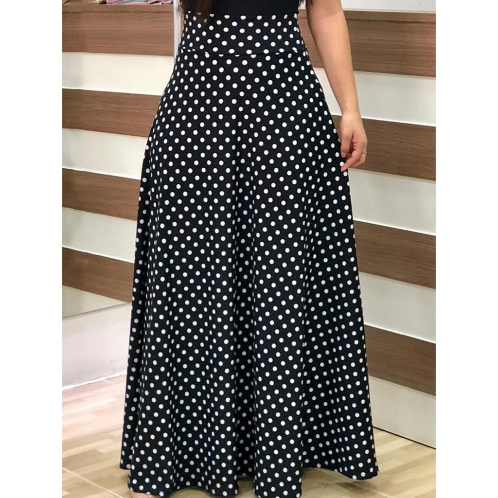 2020 Vintage femmes Maxi robe longue femme dames à manches courtes Splicing Party Point de vague Robe Robe Femme Vestidos Plus Size