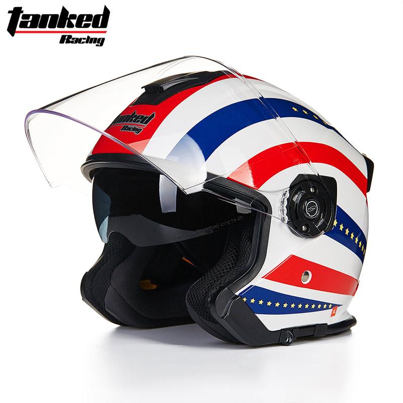 Casques de moto /à double lentille Casque ouvert /à face ABS S/écurit/é de la moto /électrique Casque Moto Casque Moto pour casque pour femmes//hommes Casque de moto /à demi-face