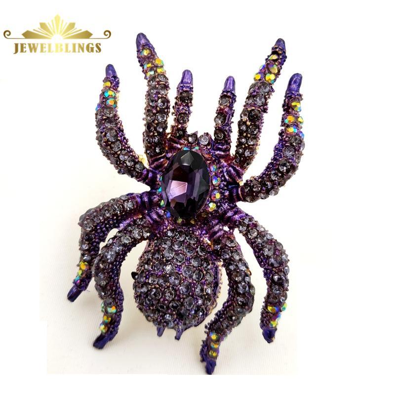 Púrpura del Rhinestone Gótico Pin Broche Gran Araña Gótico Halloween joyería de vacaciones