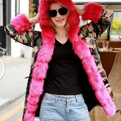 Roiii verdickte warme braune Tarnung Kunstpelz Mode warme Parka Frauen mit Kapuze lange Winterjacke Mantel Mantel Größe S-M XL 3XL S18101503