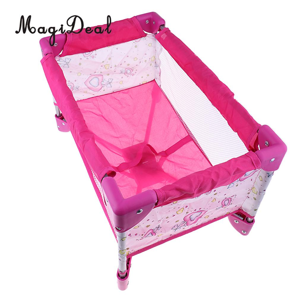 Dollhouse Simulation Baby Doll Crib Bed with Carry Bag Nursery Room Furniture Doll Accessories Kids Play Toys