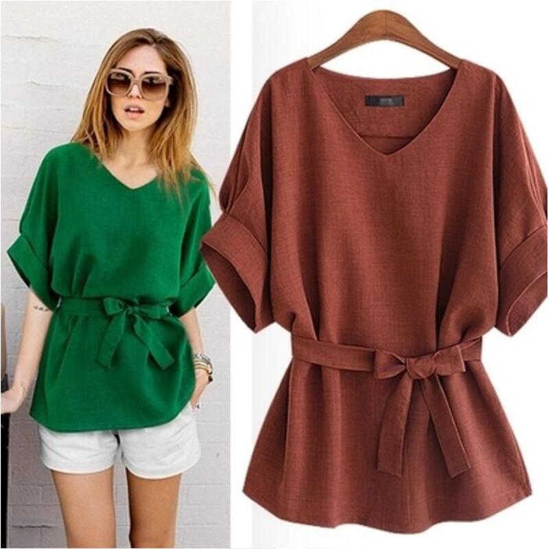 Luoyifxiong-XL-5XL-Plus-Size-Blouses--Summer-Shirt-Women-Tops-Linen-Tunic-V-Neck-Big