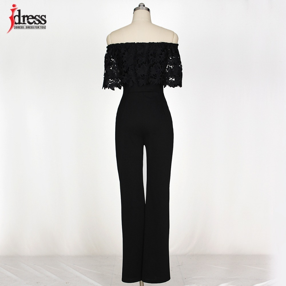 IDress Lace Crochet Rompers Women Jumpsuit Sexy Strapless Bodycon Jumpsuit Wide Leg Black White Yellow Long Pant Romper Overalls (4)