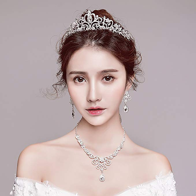 Silver Rhinestone Crystal Necklace Earrings & Crown Set Wedding Jewelry Sets Bridal Necklace Tiara (3)
