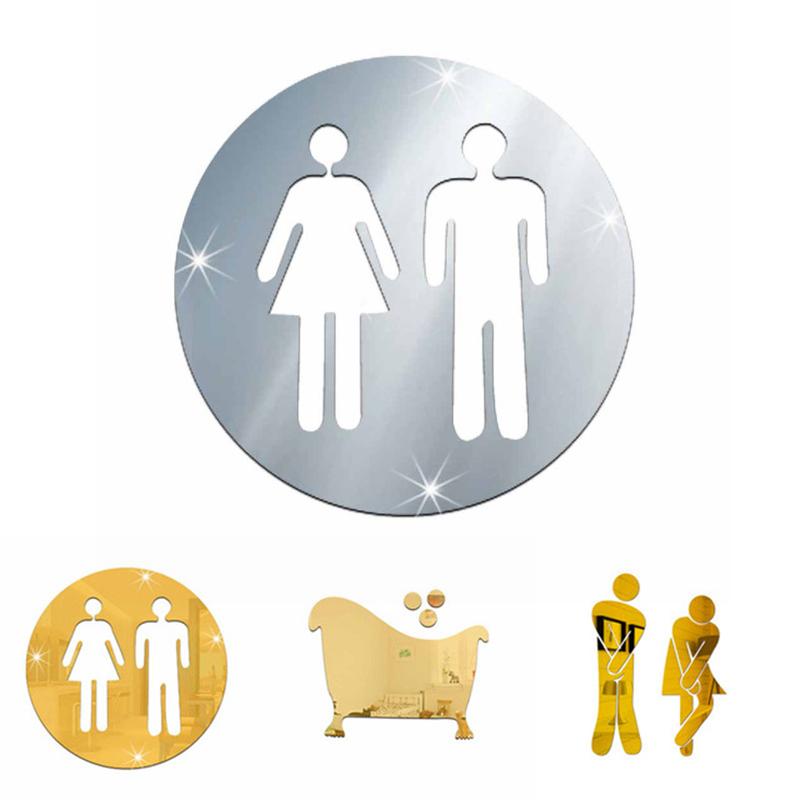 3D Salle De Bains Autocollants Hôtel Porte Femme et Homme Toilette Signe Miroir Autocollant Mural
