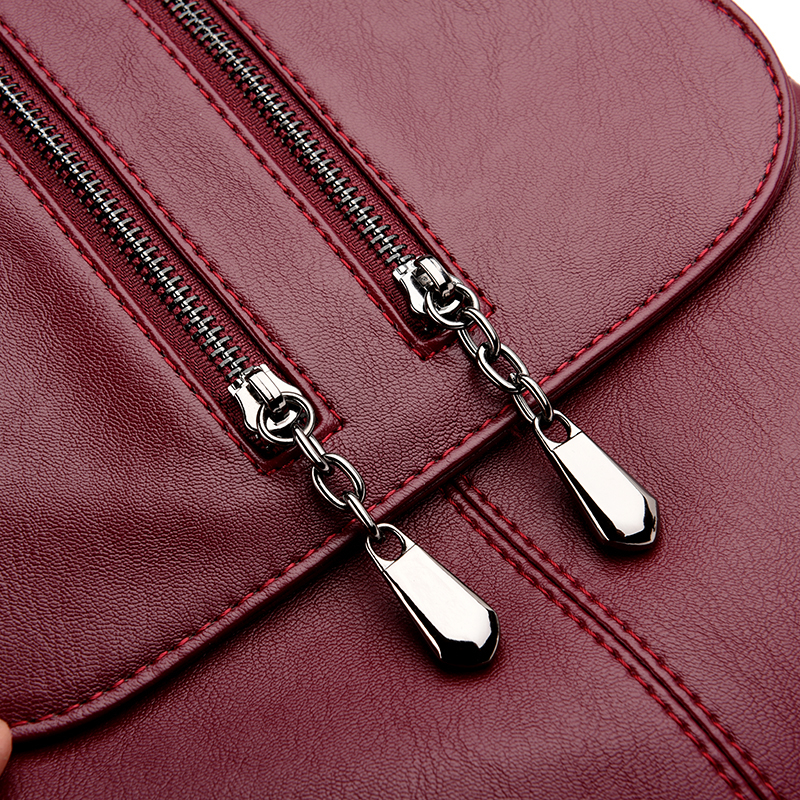 Casual Doppelreißverschluss Rucksack Weibliche Große Kapazität Schultasche Für Mädchen Marke Leder Umhängetasche Für Frauen 2018 dame BagMX190822