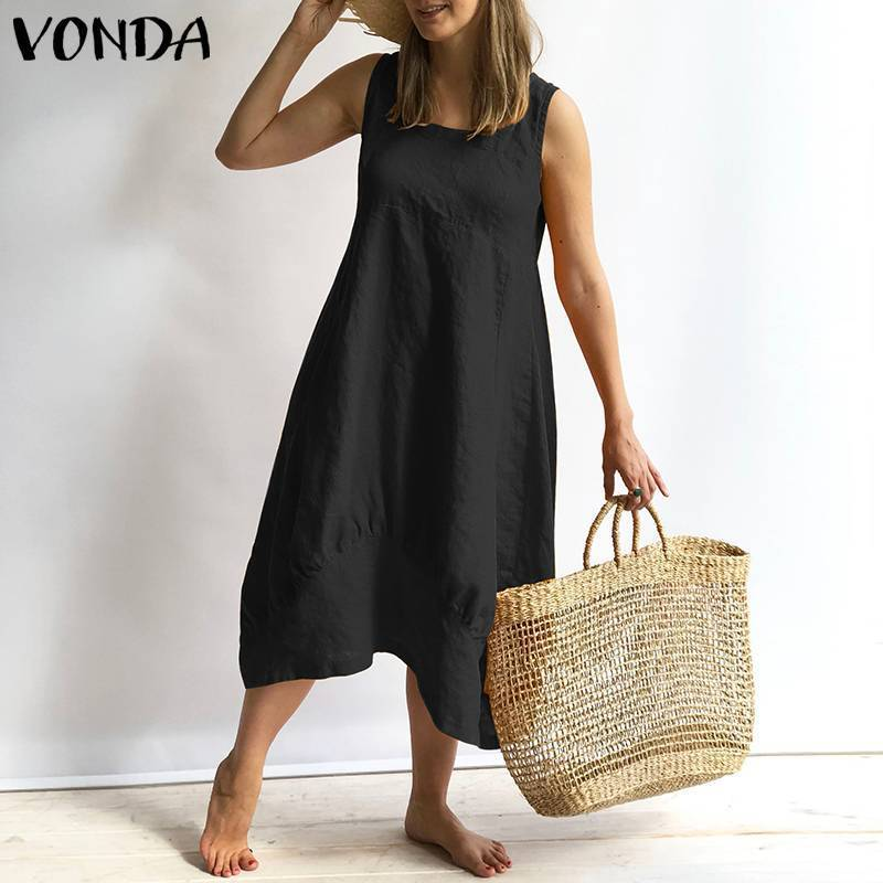 Women Dress 2019 Vonda Summer Sexy Sleeveless Square Neck Mid Calf Cotton Dresses Casual Loose Vintage Plus Size Vestidos Y19051102