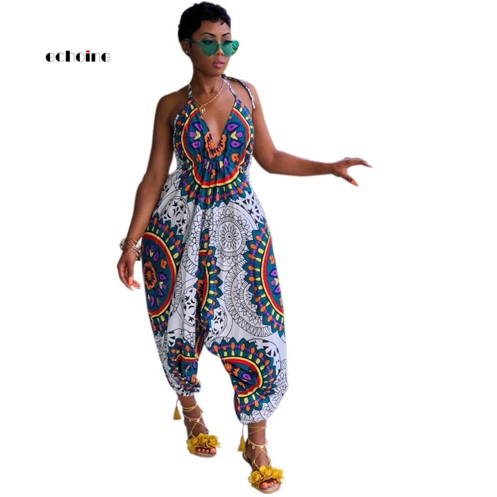 Echoine Women Jumpsuit National Style Print Sexy V-neck Halter Backless Spaghetti Strap Sleeveless Loose Long Pant Female Romper MX190726