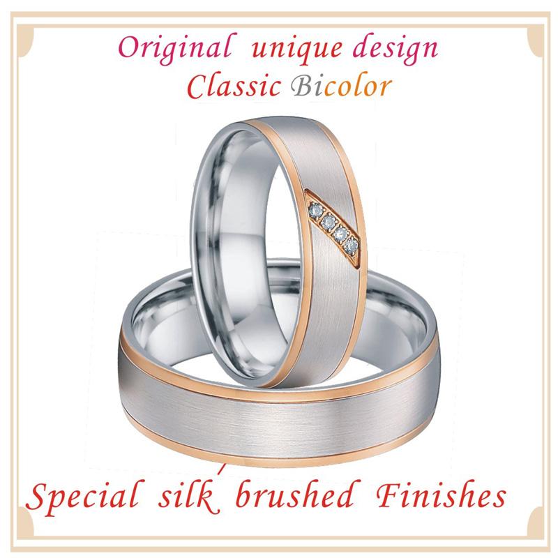 Custom Couple Rings Men Unique rose gold color titanium jewelry handmade bridal engagement wedding Rings for Women (6)