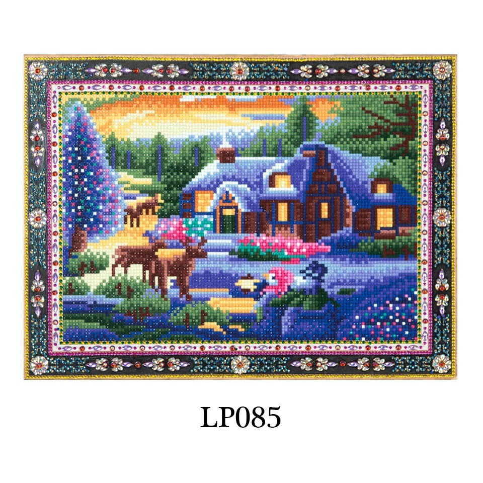 wholesale Diamond Painting Art Landscape Picture of Rhinestones Diamond Embroidery Snow House&Deer Special Shape Home Decor Winter