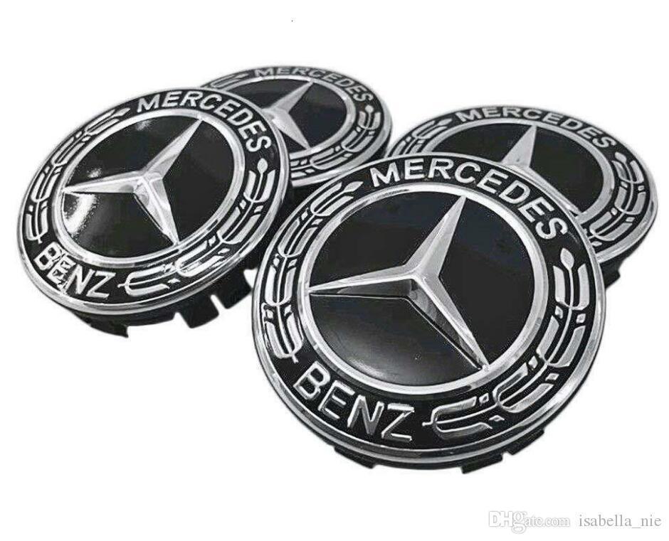 Mercedes AMG Aleación de Cubo de Rueda Centro Tapas-Negro//Rojo-Conjunto de 4-75mm
