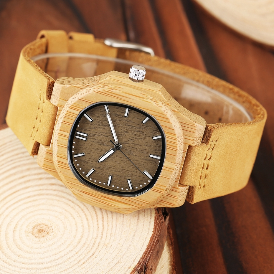 2017 New arrivals Wood Watch Natural Light Wooden Face Fashion Genuine Leather Bangle Unisex Gifts for Men Women Reloj de madera Christmas Gifts (9)