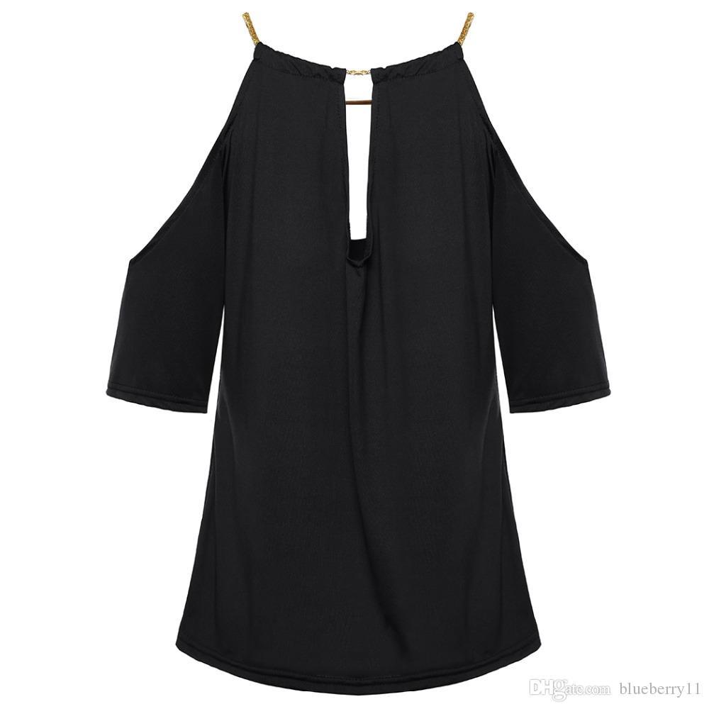 Sexy Fanco spalle Alta camicetta le donne mezza manica top e camicie Estate Black Ladies camicetta