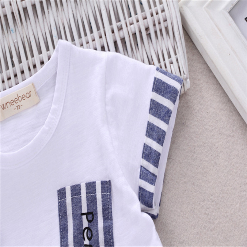 2PCS Baby Boys Sets Toddler Infant Kids Baby Boys Short Sleeve Cartoon Pencil T-shirt Tops+Striped Pants Set Baby Clothes M8Y18 (3)