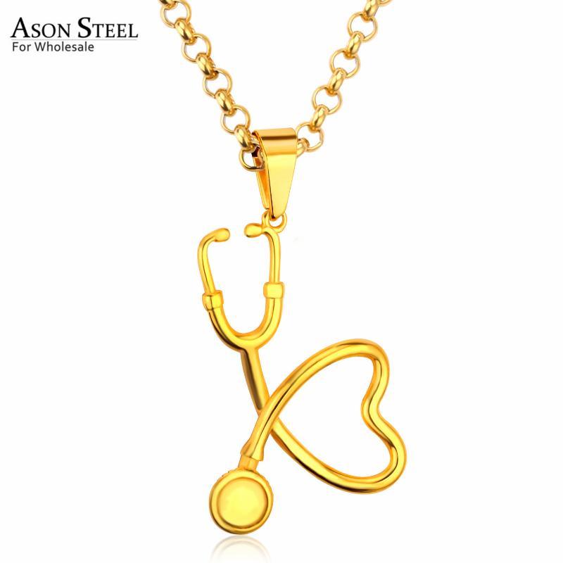1PC Women Novelty Alloy Heart Necklace Nurse Stethoscope Chain Link Pendant Gift