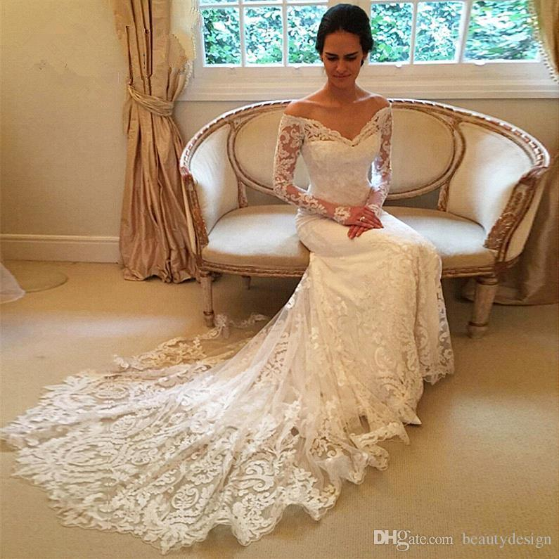 2017 New Gorgeous Long Sleeve Lace Mermaid Wedding Dresses Dubai African Style Petite Natural Slin Fishtail Off-shoulder Train Bridal Gowns