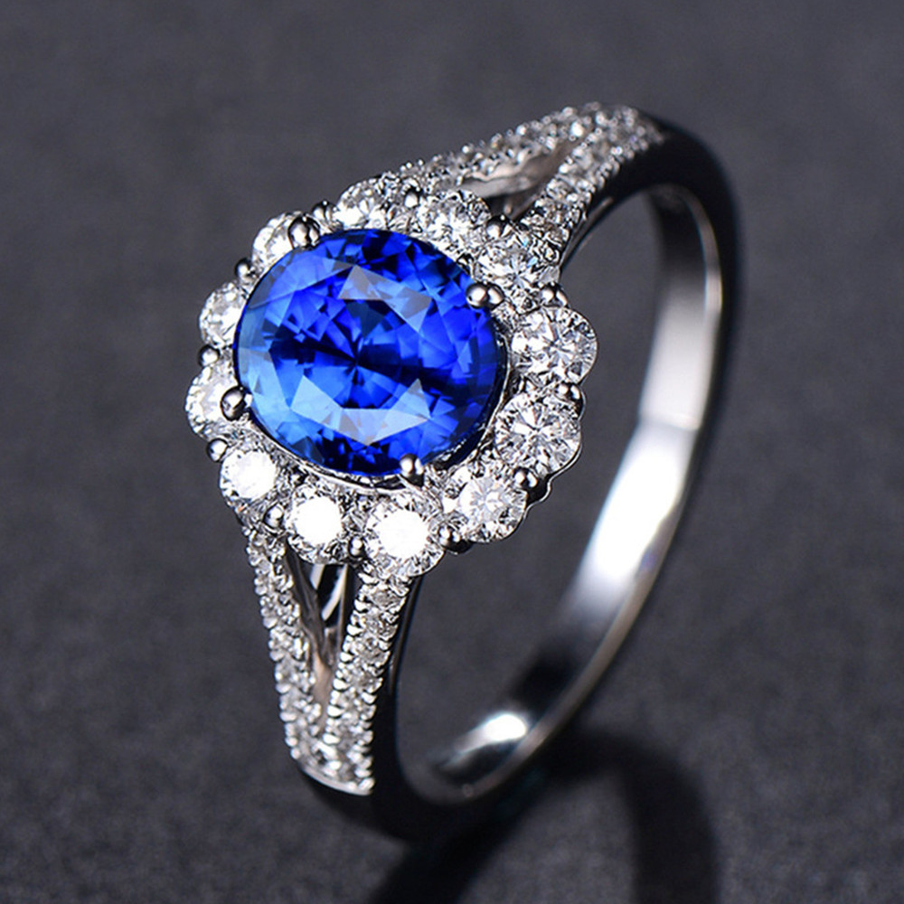 Taille 9 Round Cut Saphir Bleu Big Stone Bague de Mariage 10KT Or Noir fillled