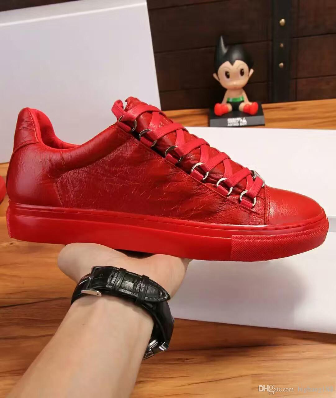 2017 Men Classic Genuine Leather Arena Brand Flats Sneakers Male Low Top Shoes Fashion Luxury Casual Lace Up Shoes Size 38-46.