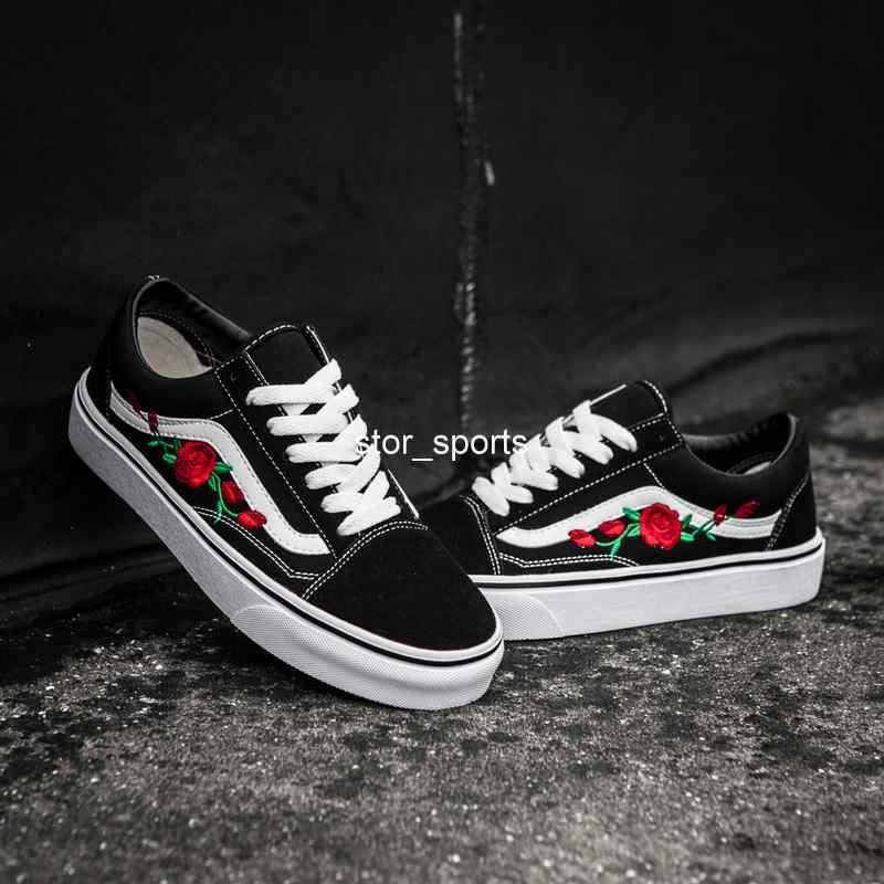 2020 Vans Old Skool X AMAC Douanes montantes Skateboard Femmes Hommes  Chaussures Casual Rose broderie Vans Designer Canvas Skate Sneakers 36-44