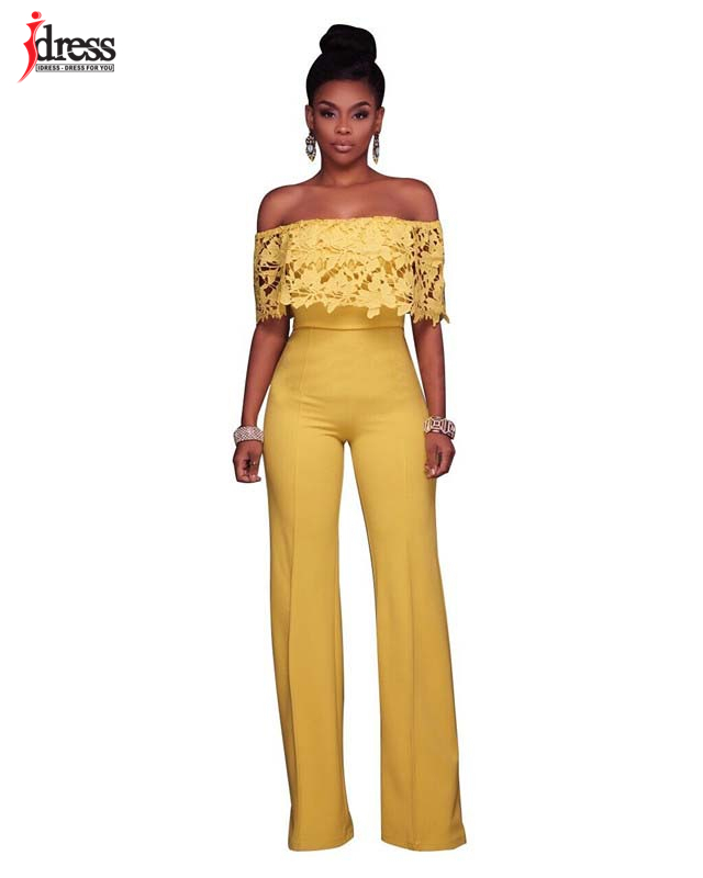 IDress Lace Crochet Rompers Women Jumpsuit Sexy Strapless Bodycon Jumpsuit Wide Leg Black White Yellow Long Pant Romper Overalls (1)