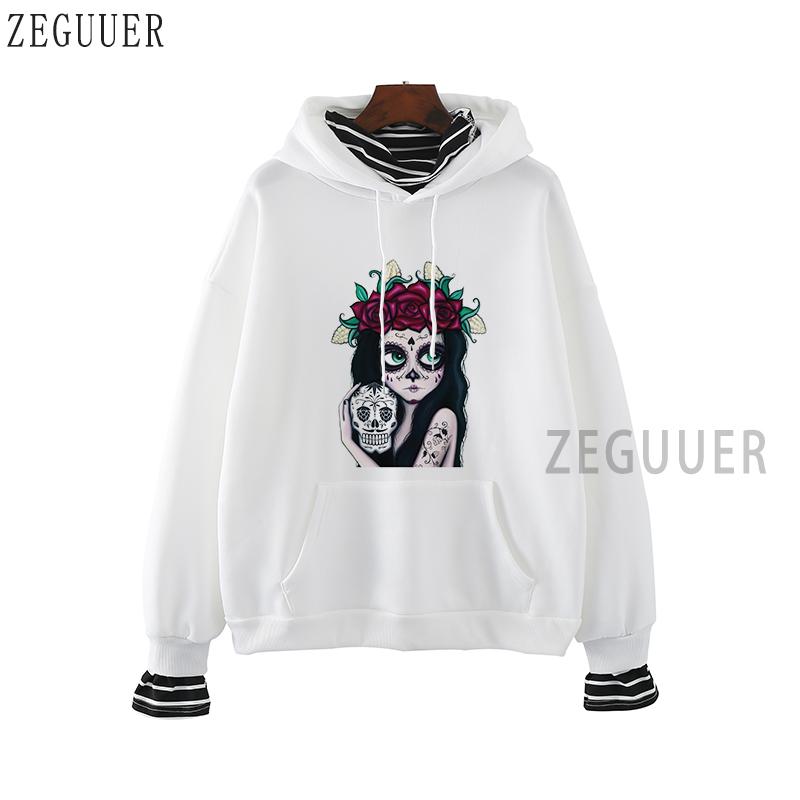 Men Pullover Hoodies Dive Flag Sugar Skull with Roses Long Sleeve Fleece Hooded Sweatshirt Sweater Blouses Tops