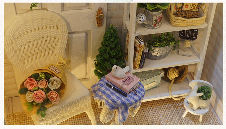 Doll House Frame Miniature with Furniture Model Building Kits DIY Wooden Dollhouse Miniaturas Toys for Children Birthday Gift (11)