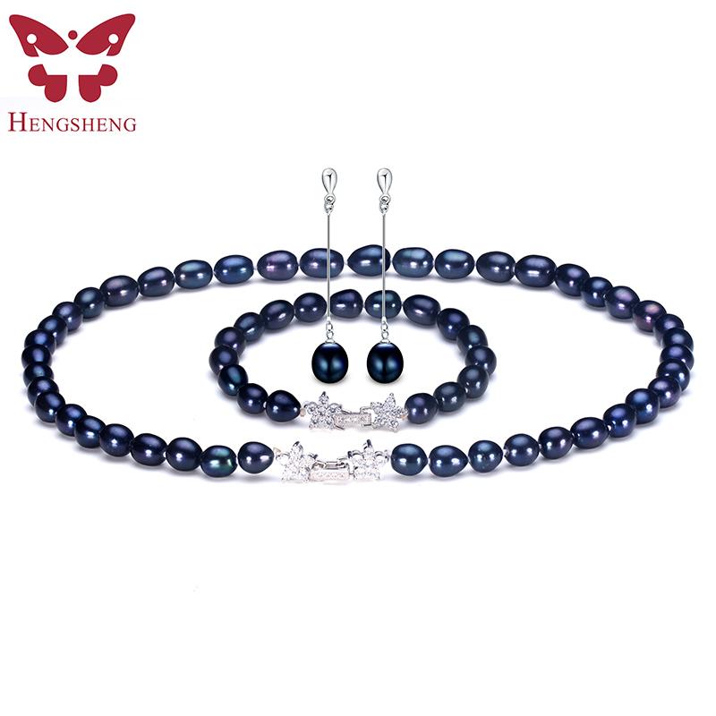 """8X9MM noir d/'eau douce baroque riz collier de perles 18/"""""""