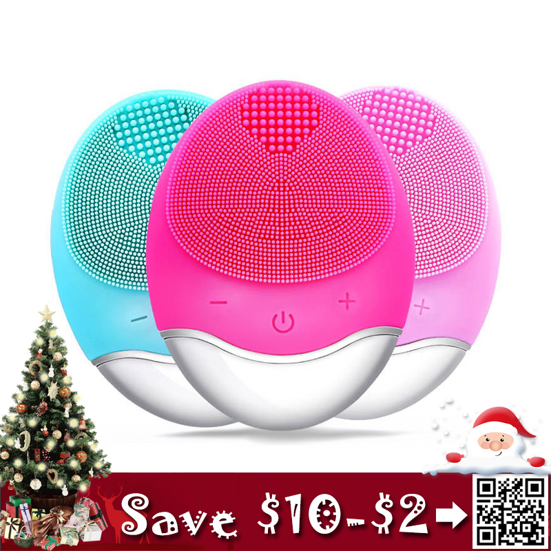 Facial Cleansing Brush Bamboo Charocal Silica Gel Face Cleaning Device with Anion Importer Cotton Drying Wipes as Gifts