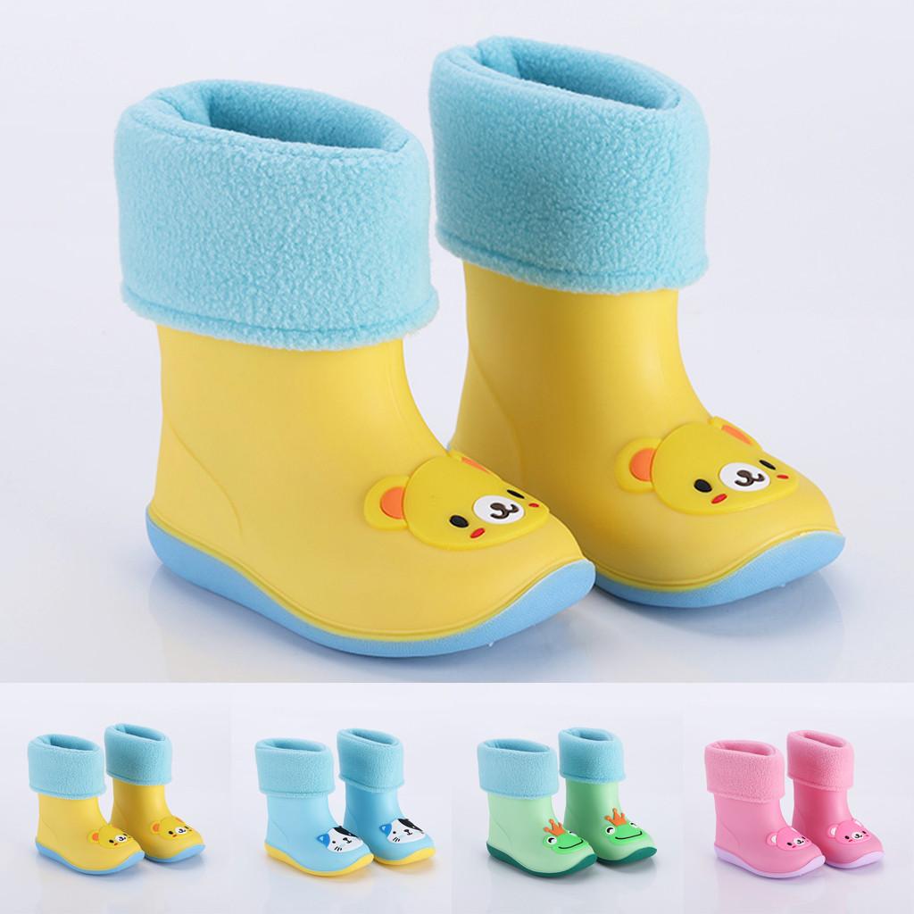 Kids Rainboots PVC Cartoon Animals Print Non-Slip Rain Shoes for Baby Boys Girls Waterproof Rain Boots