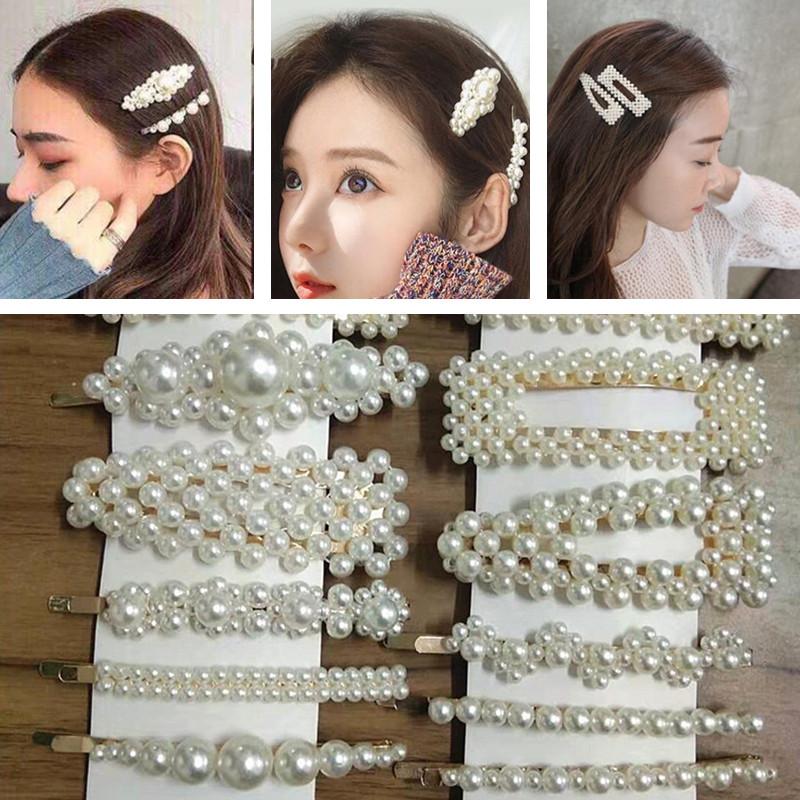 3Pcs Femmes Perle Acrylique Clips Cheveux Snap Barrette bâton en épingle à Cheveux Décoration Cheveux