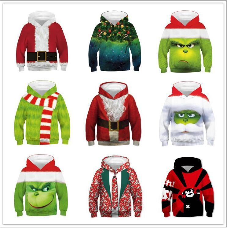 Kids Boys Girls The Grinch Christmas Hoodie Sweatshirt Jumper Tops Jacket Coat