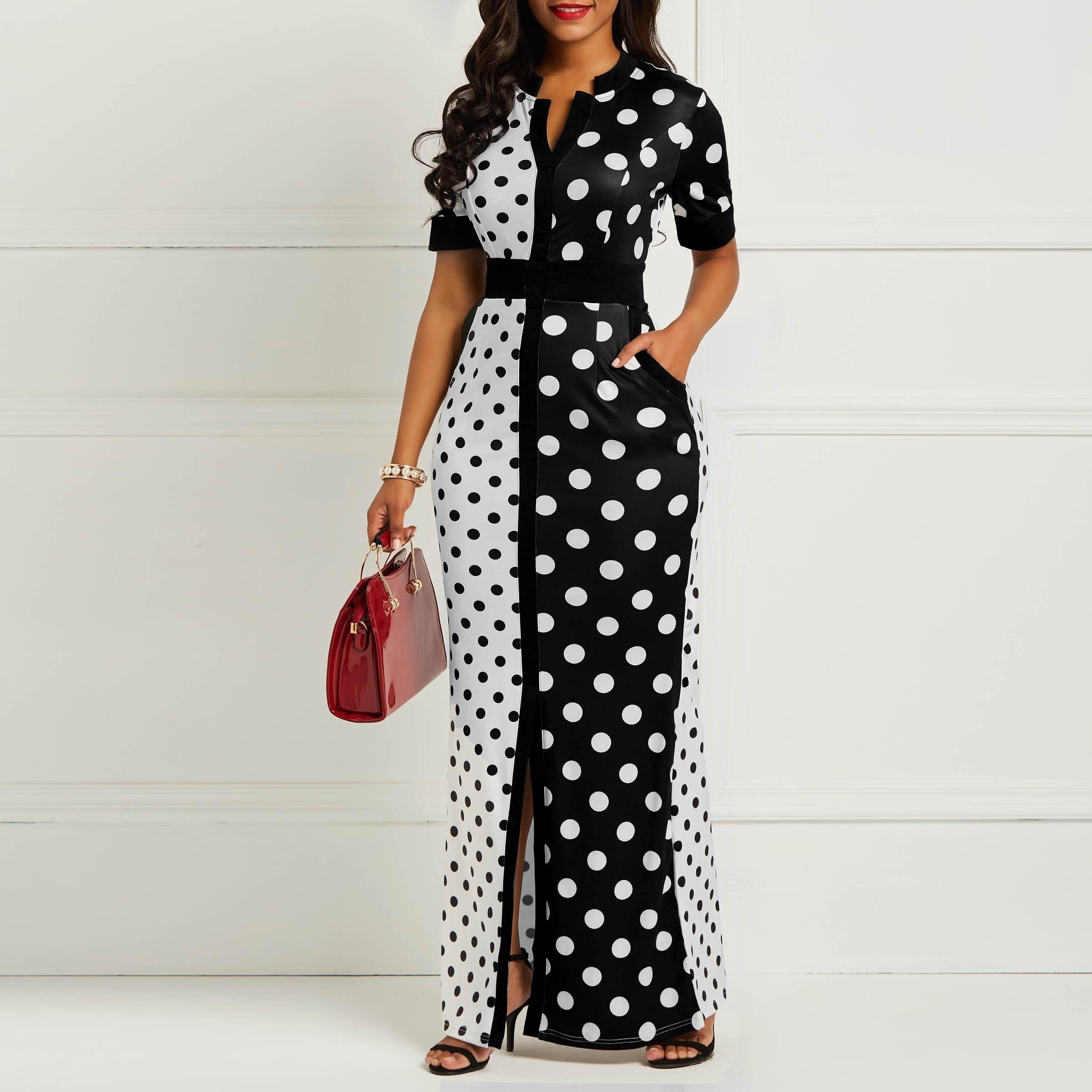 Clocolor Африканское Платье Vintage Горошек Белый Черный Печатный Ретро Bodycon Женщины Лето С Коротким Рукавом Плюс Размер Длинное Платье Макси Y19021409
