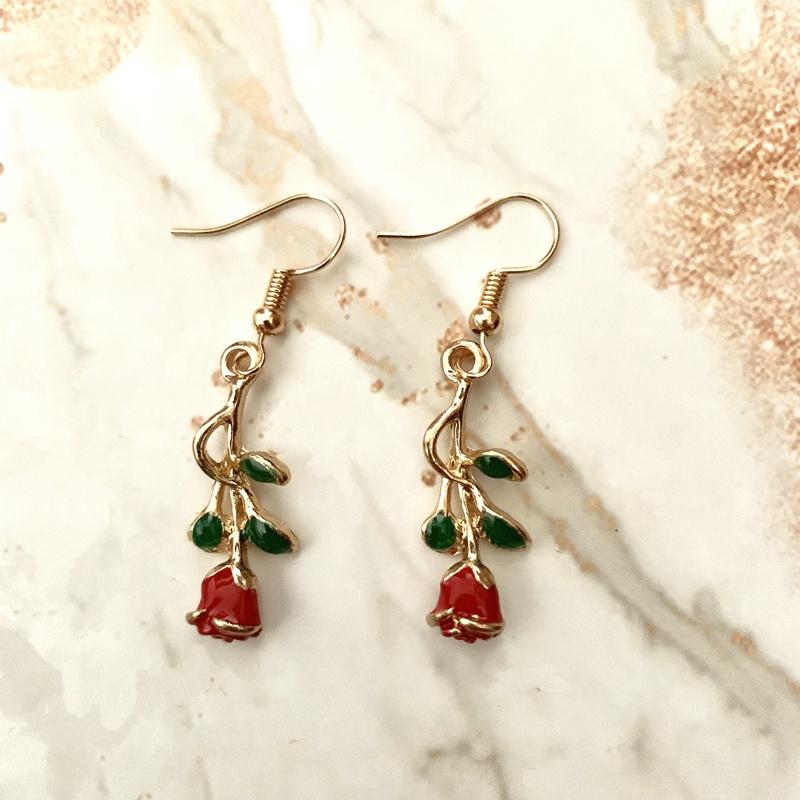 Oro Rosa Gf rojo granate CZ Flor señoras Aro Pendientes de piedras preciosas