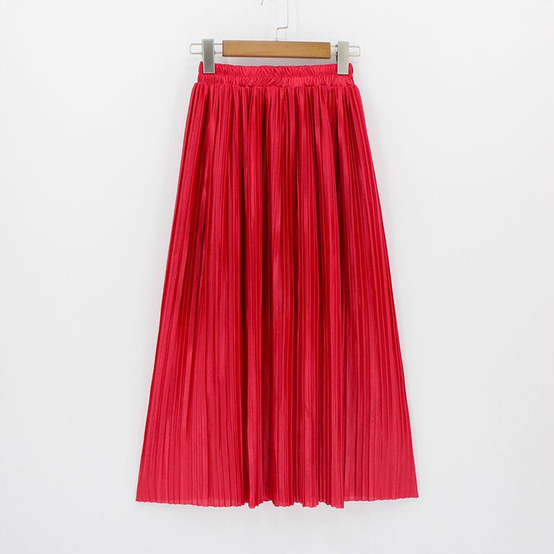2018 New Women Fashion Elastic Plus Size Long Skirts High Waist Pleated Maxi Skirt Saia Bling Metallic Silk Korean Tutu Skirt MX190709