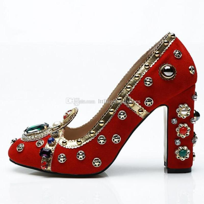 Lucky2019 Runway Jewel Round Toe Mary Janes Block Slip On Shoes Party Heels Women
