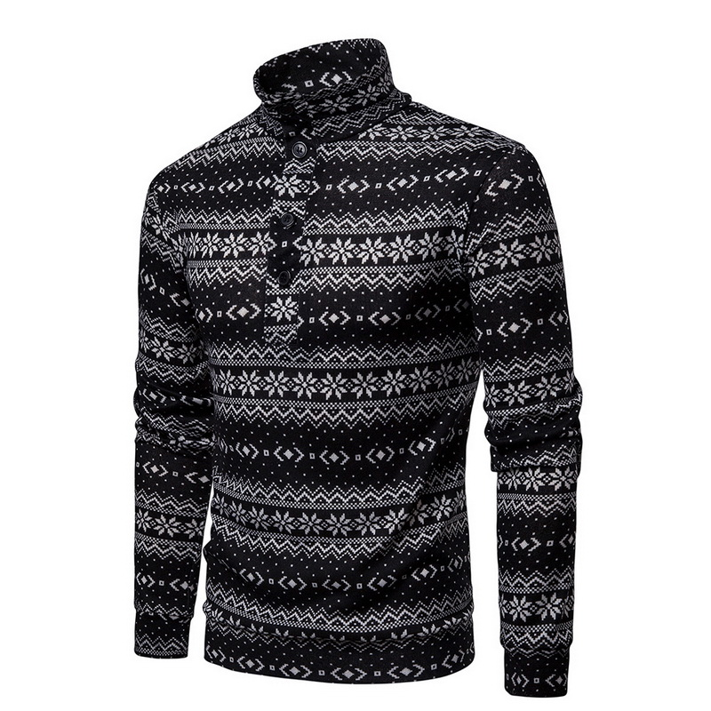 Romantc Mens Slim Crewneck Printed Leisure Knitting Long-Sleeve Sweater