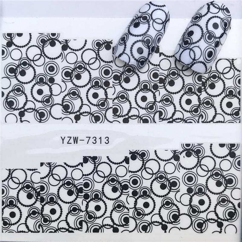 Mixed Fashion Sex Black Lace Vine Charm Nail Art Stickers Water Transfer Decals Wraps Nail Art Tattoos Diy Printing