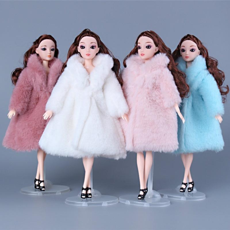 11 pulgadas 30 cm princesa ropa moda invierno abrigo de piel para muñecas ropa vestido largo abrigo accesorios para muñecas Barbie Doll ropa