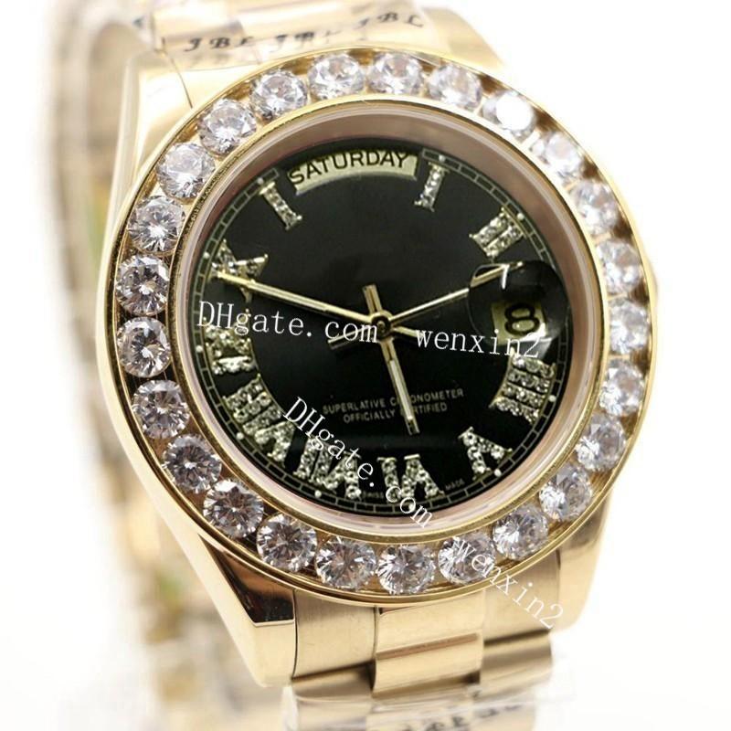 Luxury Watch 43mm 2813 Gold President Day-Date Diamonds Watch Men Stainless Black Dial Diamond Bezel Automatic WristWatch