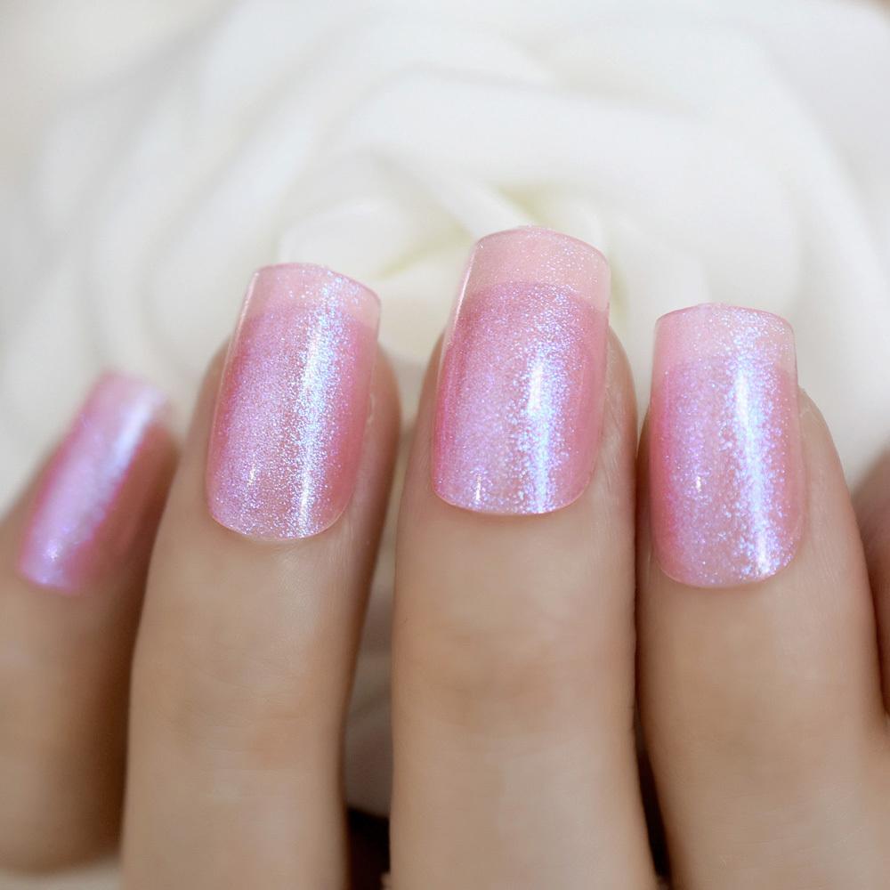 Квадратный блеск Поддельные ногти Волшебный Холо Блестящая поверхность Акрил Искусственные советы по искусству ногтей Несколько цветов на выбор