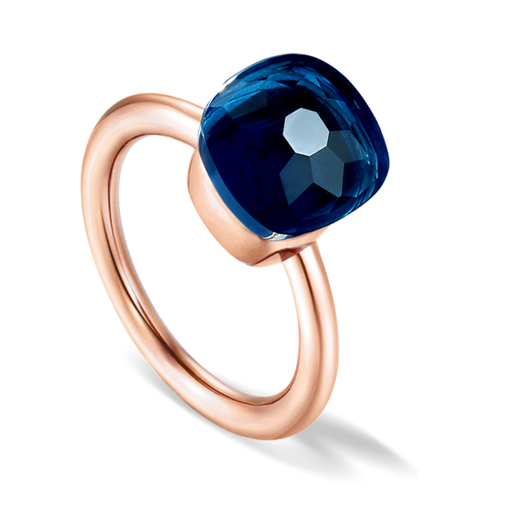 10K or rose bague diamant avec 0.96 Ct Ovale Rouge Grenat