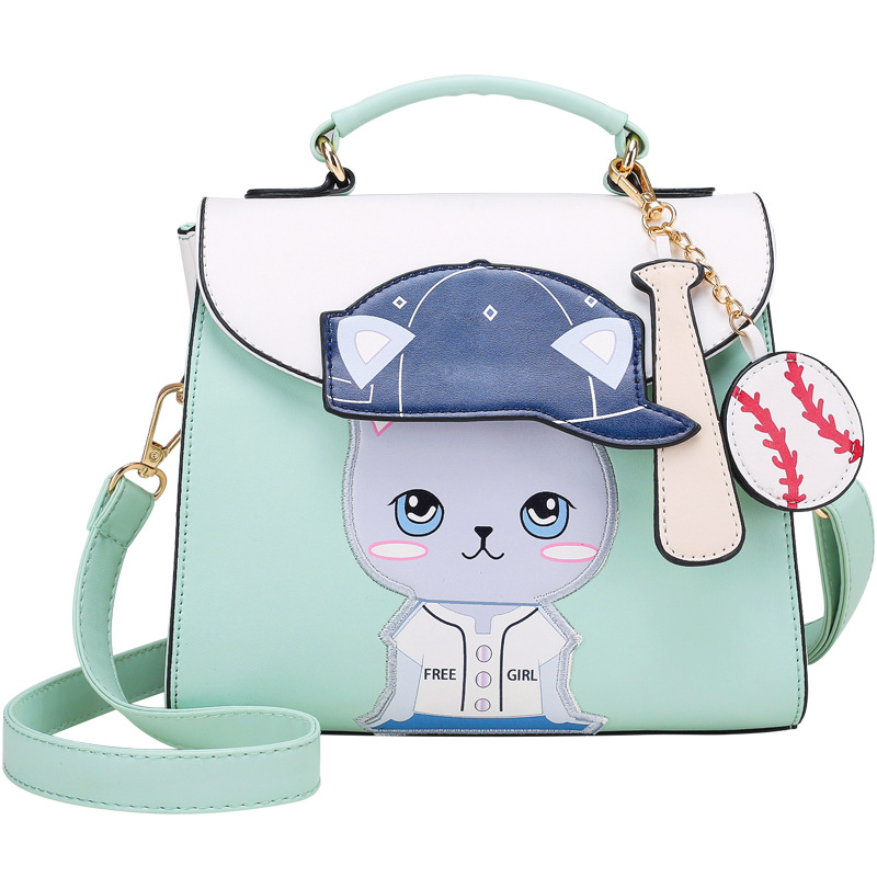 Color : Navy Blue Carriemeow Leisure Personality Cat Large Capacity Shoulder Messenger Hand Bag