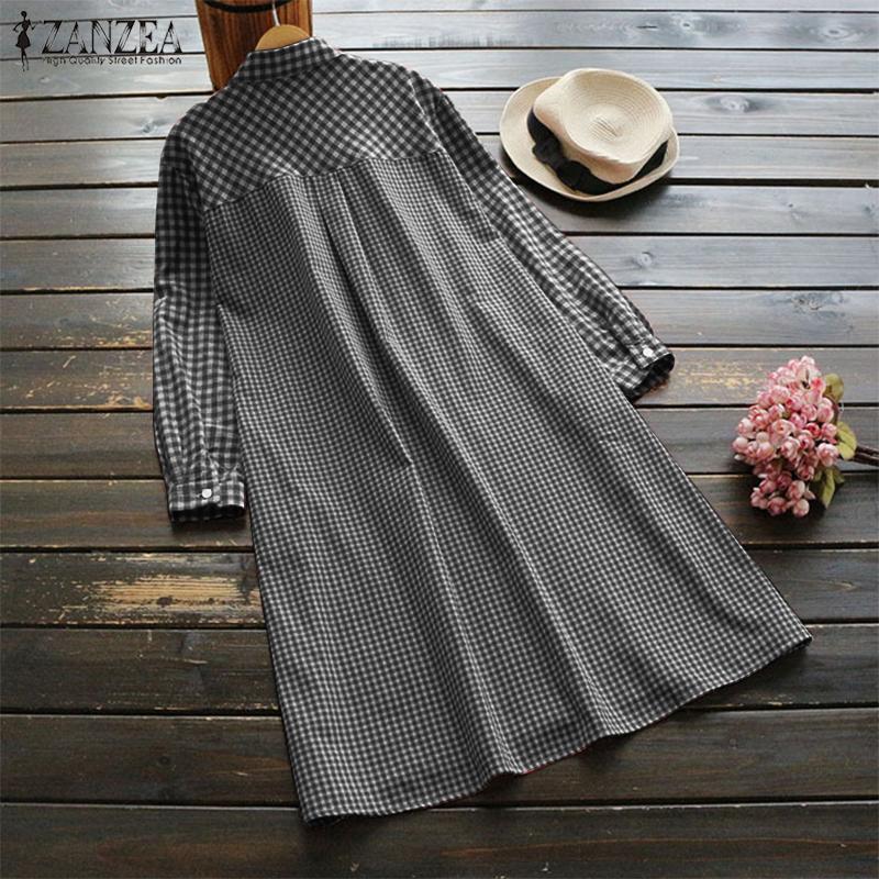 Womens Checked Shirt Dress Zanzea 2019 Vintage Short Vestido Robe Femme Long Shirts For Women Beach Sundress Button Party Dress Q190409
