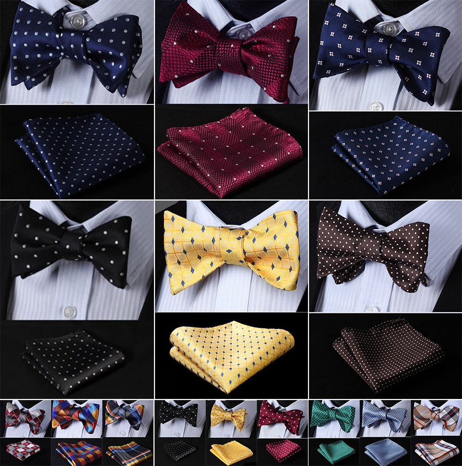 PenSee Mens Self Bow Tie Red /& White Dot Woven Silk Bow Ties