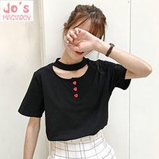Off-schulter-top-2016-rock-koreanische-t-shirts-sommer-nette-frauen-tops-harajuku-kawaii-liebe-tasten