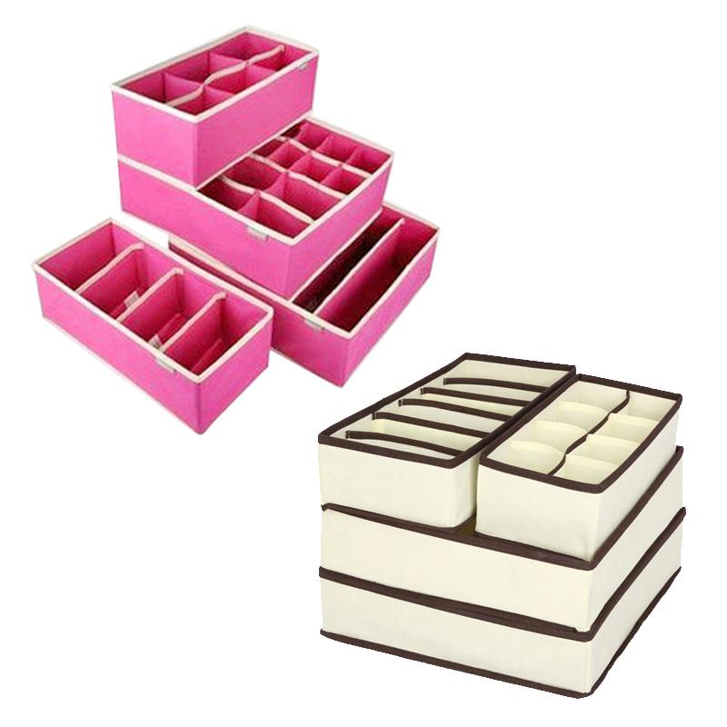 Urijk Underwear Bra Organizer Storage Box Beige/Rose Drawer Closet Organizers Boxes For Underwear Scarf Socks Organiser D19011201