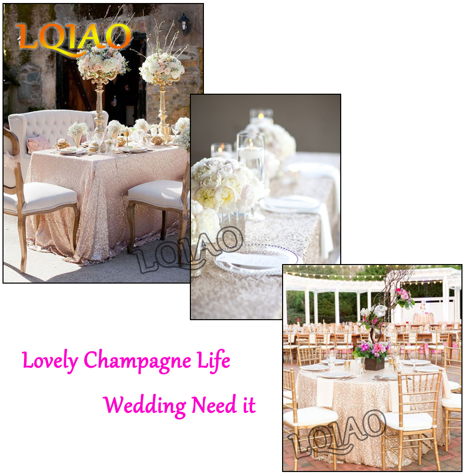 Champagne Sequin Tablecloth-001